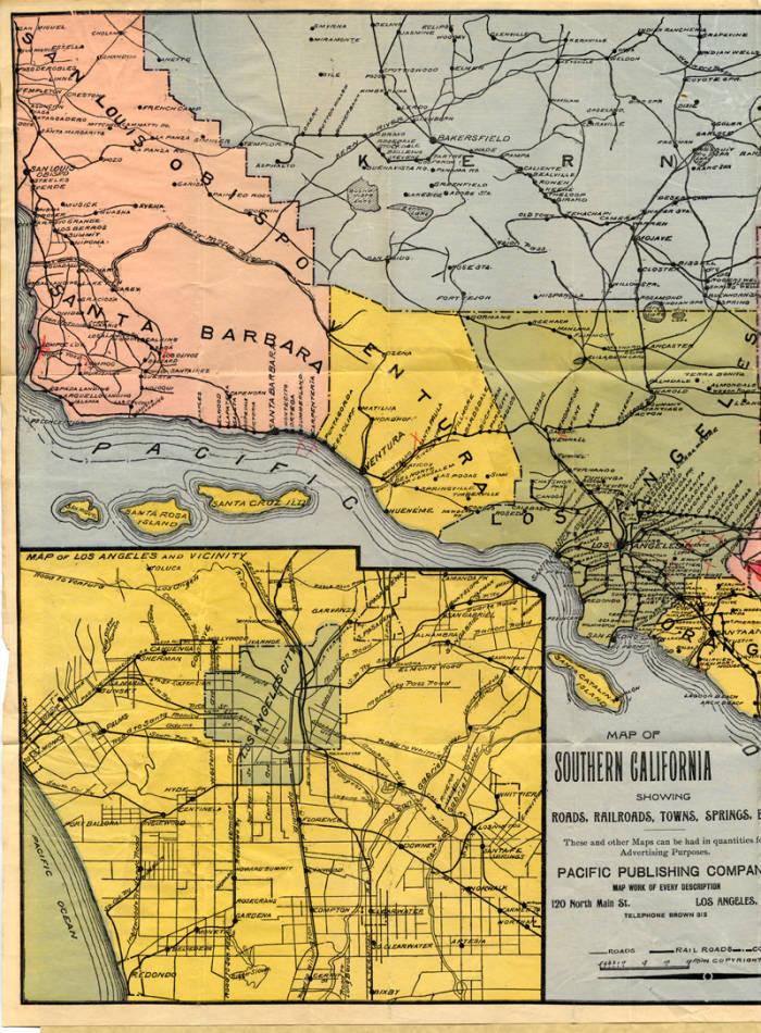 Miner's Road Map of Southern California, 1899 (page 2) - San ... on hollywood boulevard map, santa clarita map, mulholland drive map, san fernando freeway map, calabasas map, city of san fernando map, gold line map, san fernando bus map, pasadena map, north hollywood shootout map, van nuys airport map, san fernando ca map, california state route 138 map, universal studios hollywood map, los angeles river map, i-5 map, bob hope airport map,
